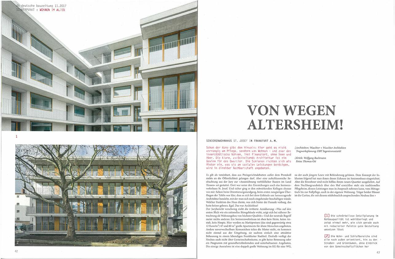 deutsche bauzeitung Artikel Seniorenwohnhaus St. Josef