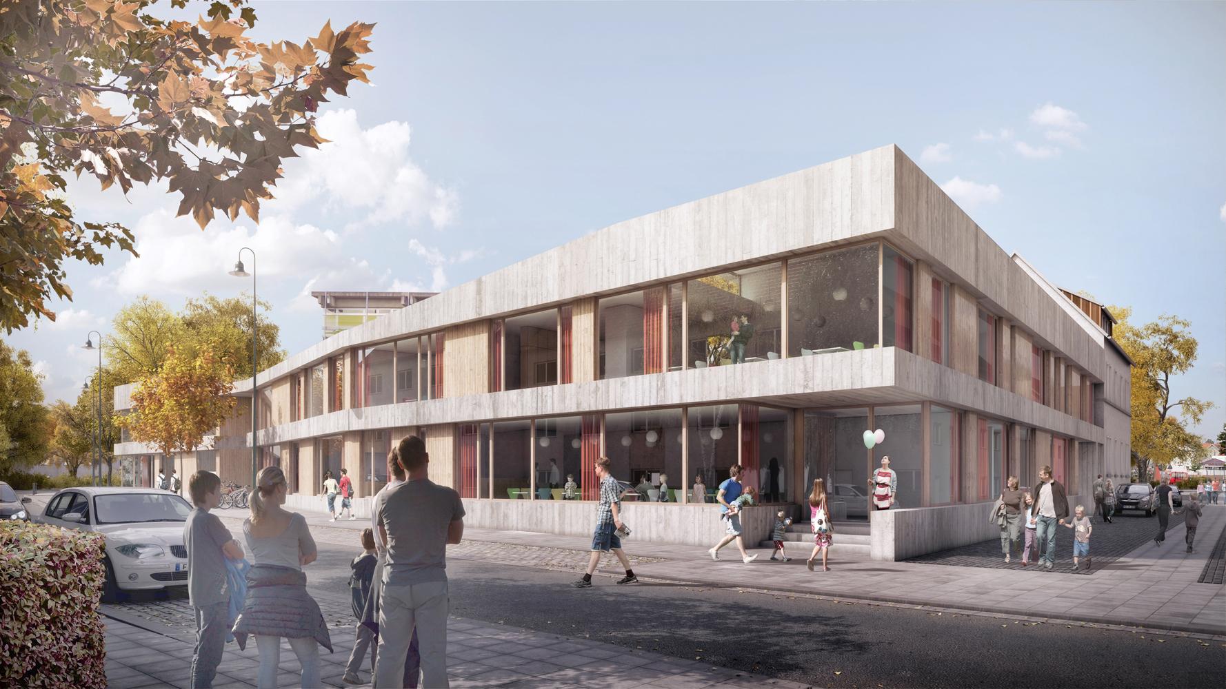 Außenperspektive Nord Kinder- und Jugendzentrum Pankratiusstraße Darmstadt