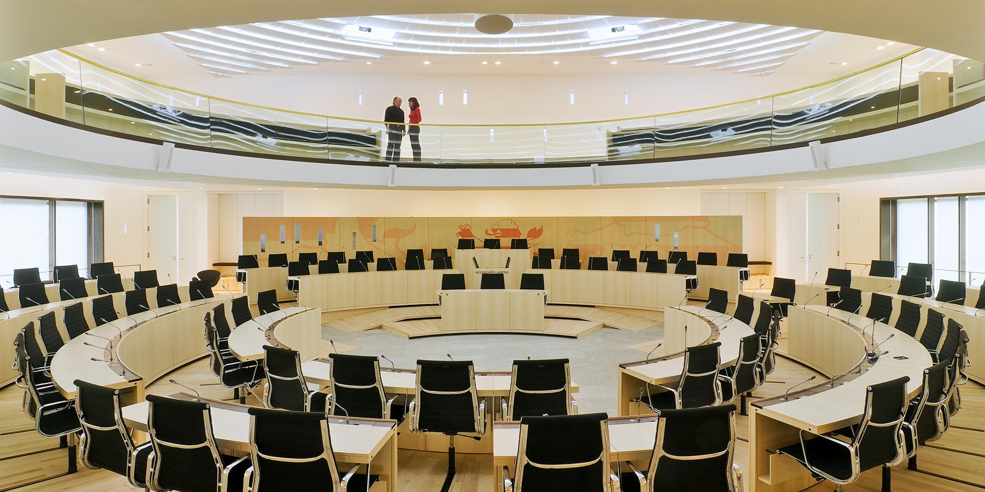Plenarsaalgebäude Hessischer Landtag Innenansicht Plenarsaal